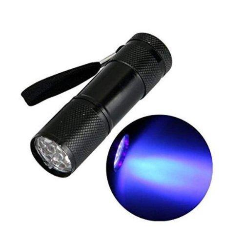 Silverline Military Flashlight - UV Lighting - Black