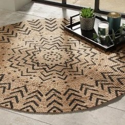 Jute Rond tapijt met grafische patronen