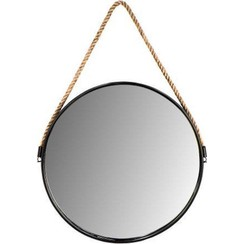 Round wall mirror with rope - ø38 cm - black/natural