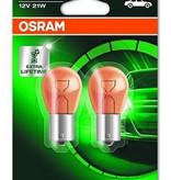 Lampe à incandescence Osram Ultralife 12v 21w ambre Bau15s