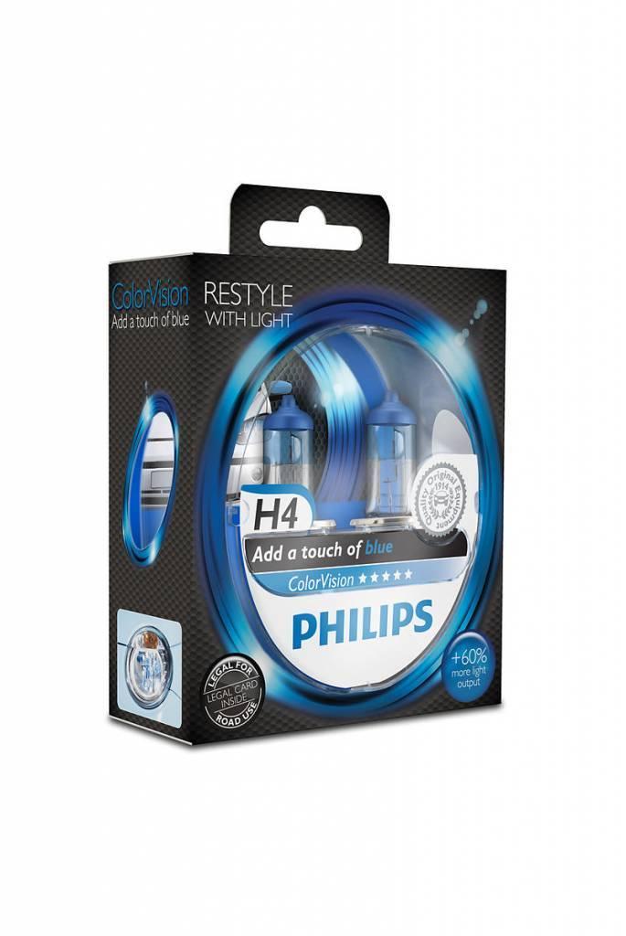 Philips H4 Colorvision Blauw Duobox