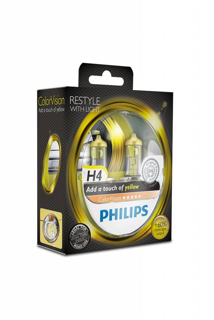 Philips H4 ColorVision Jaune Blister double