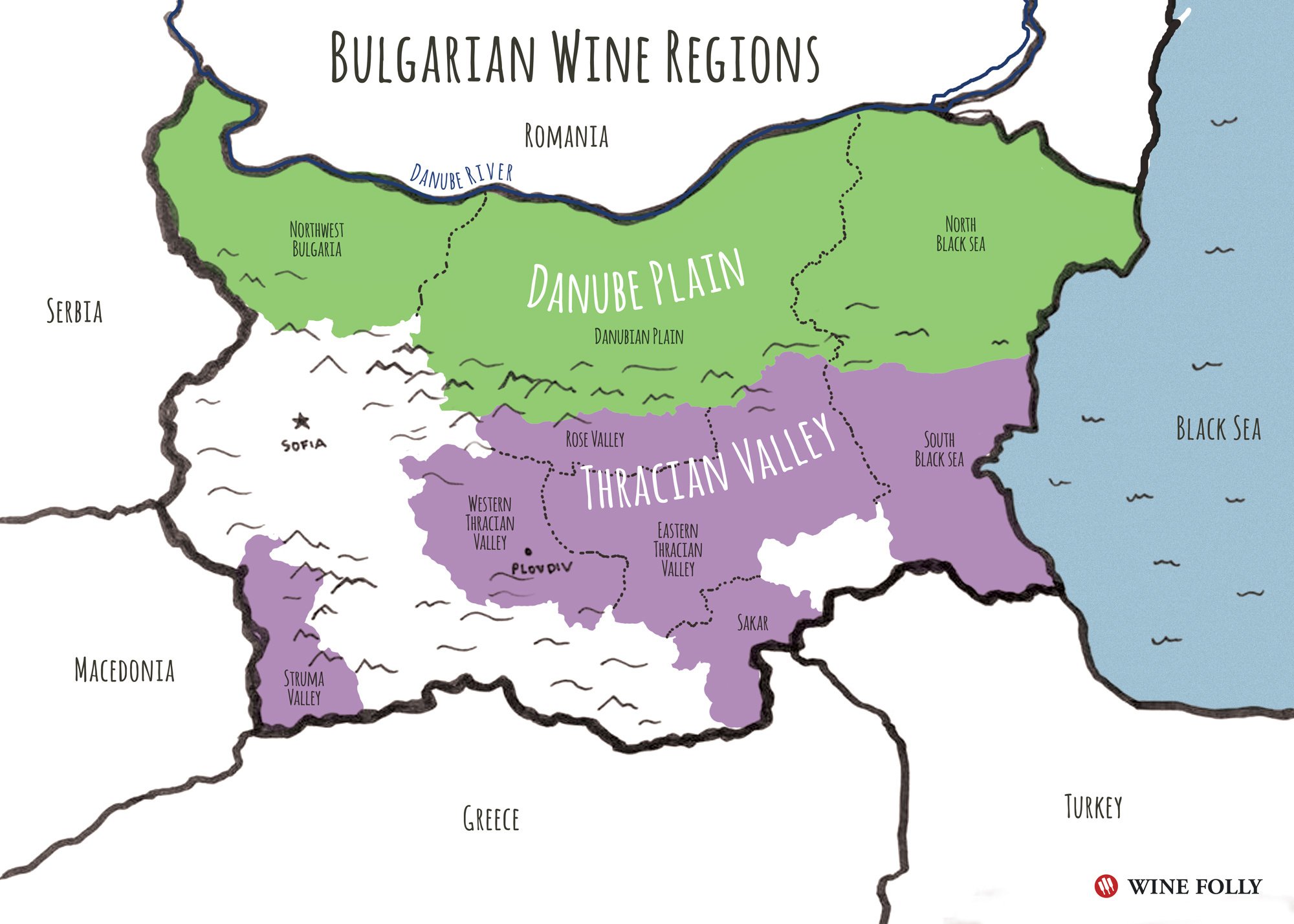 Bron: Bulgaria's wine regions and location on the Black Sea. by Wine Folly