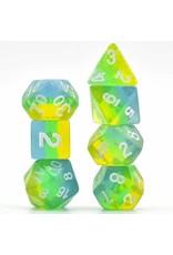 Blue, Green & Yellow Shimmer Layer RPG Dice – Foam Brain