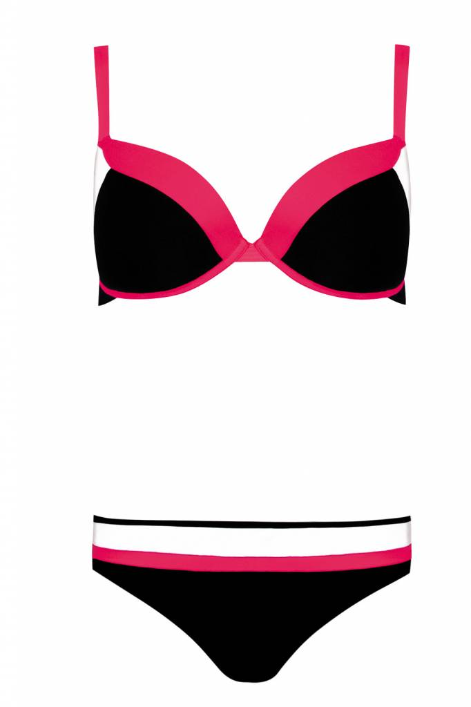 bikini & slip zwart-roze f01c-610 - talio