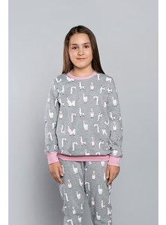 Italian Fashion Pyjama voor kinderen Lama Melange/Roze 148