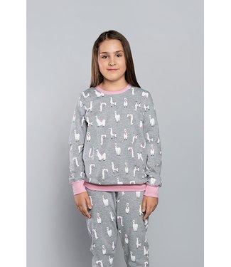 Italian Fashion Familie Pyjama voor kinderen Lama Melange/Roze 148