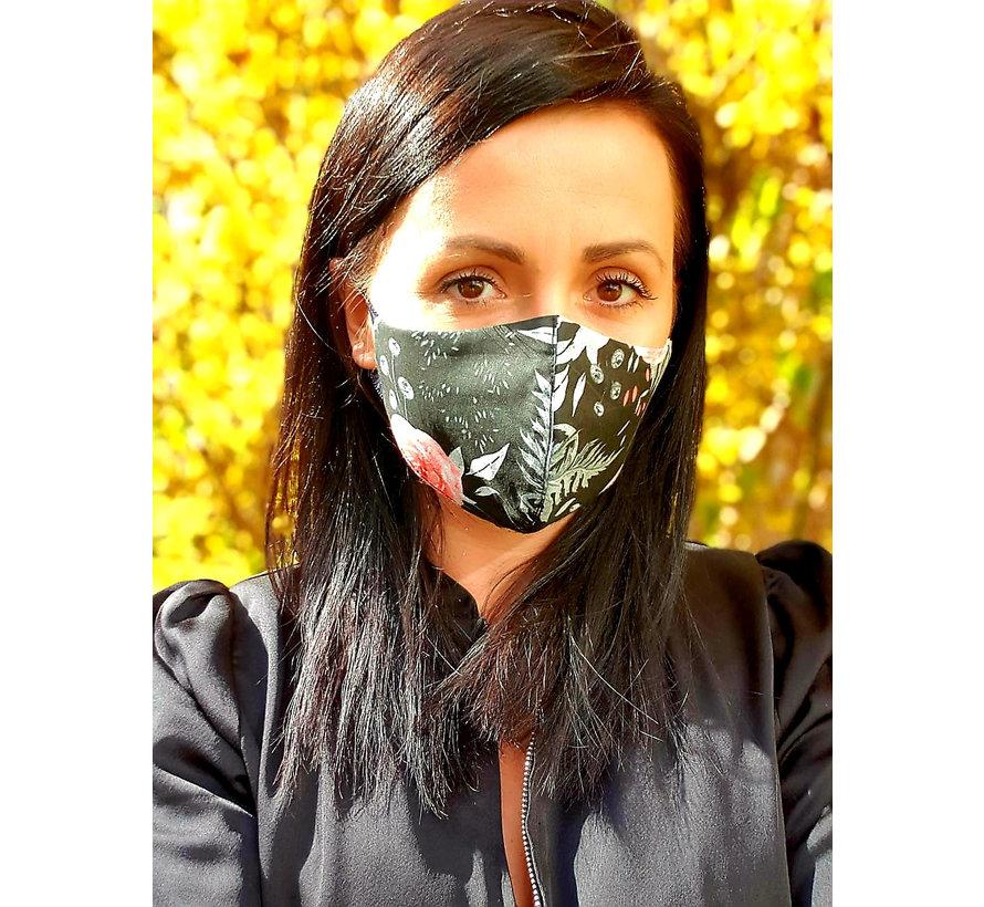 Mondmasker Dames Zwart Bloemen 0101