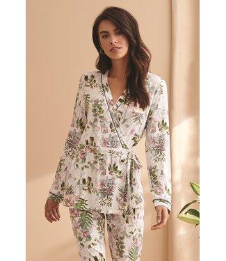 Vanilla Night & Day Pyjama Kimono Ecru Print 3429