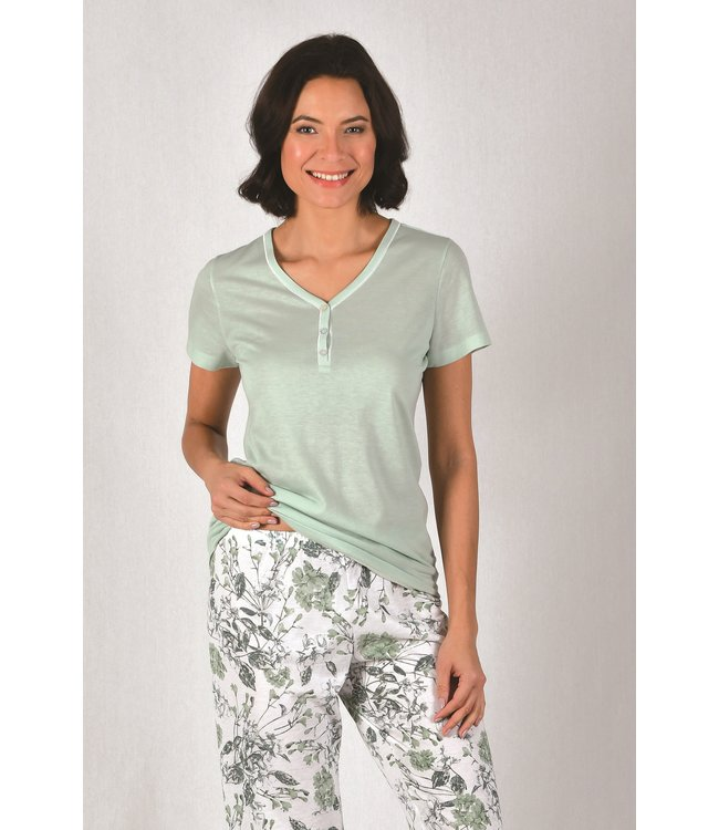 Cybele Pyjama Groen met Bloemen 7-810533