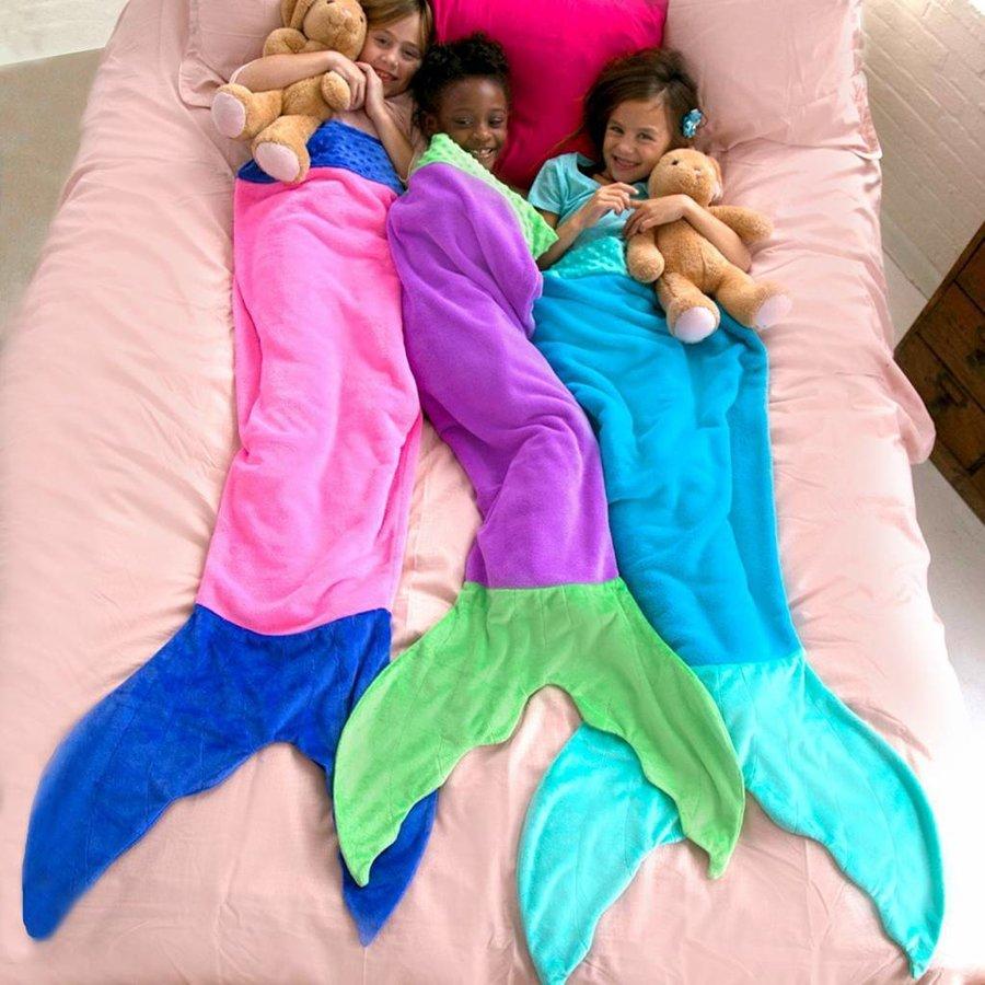 Blankie Tails zeemeermin deken blauw/aqua
