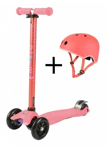 Maxi Micro Coral pink scooter + helmet