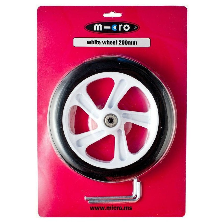 Micro wiel 200mm wit (AC-5009B)