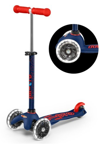 Mini Micro scooter Deluxe LED Navy Blue