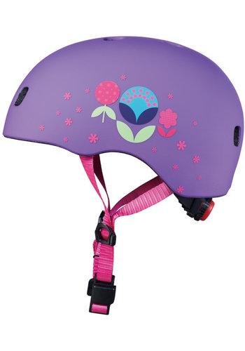 Micro helm Deluxe Paars met bloemen