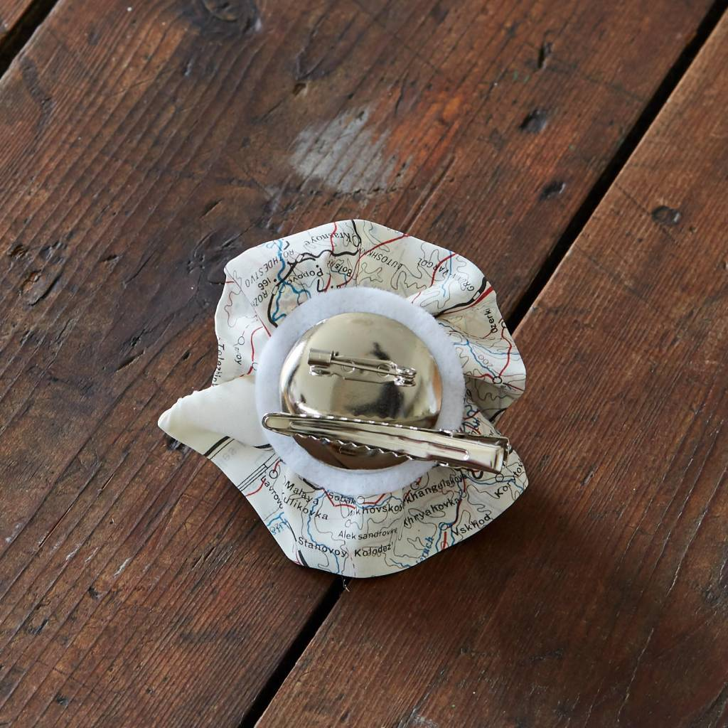 Escape and Evade Silk Map Brooch and Hairclip