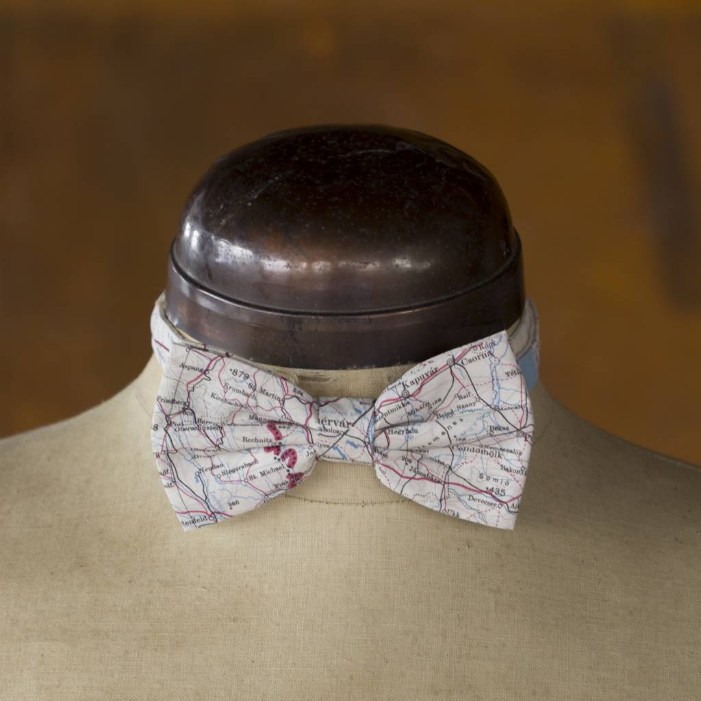 Escape and Evade Silk Map Ready Tied Bow Tie
