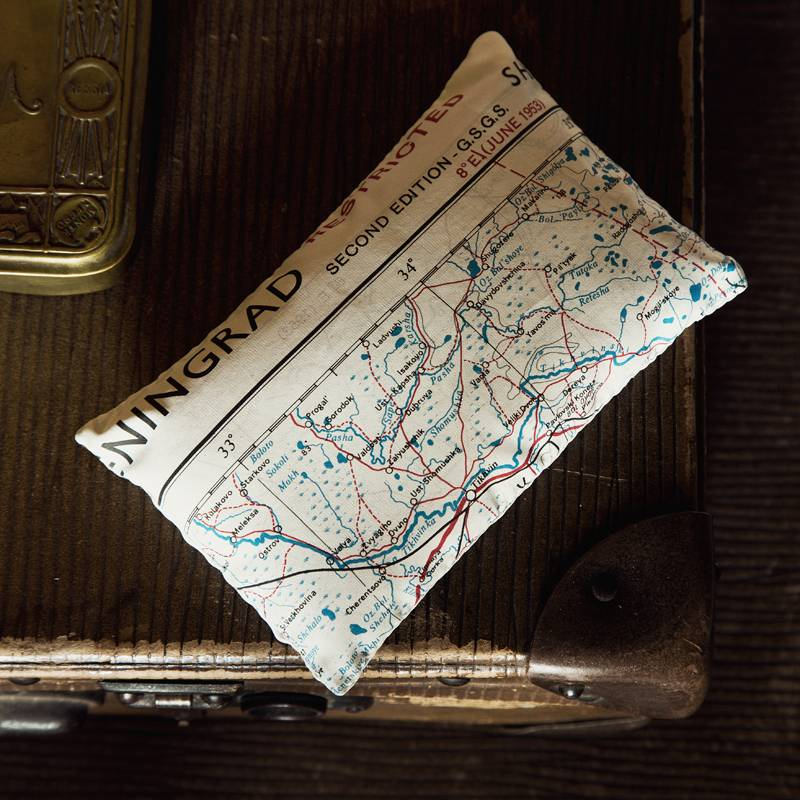 Escape and Evade Silk Map Lavender Bag