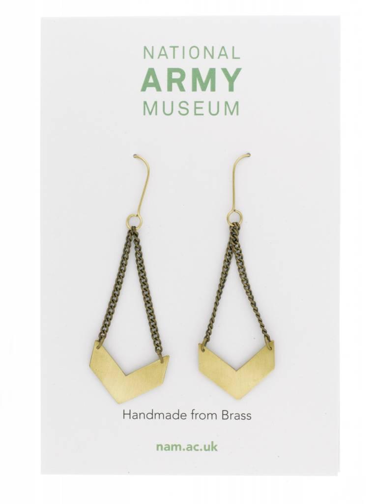 Just Trade Chevron Earrings Brass
