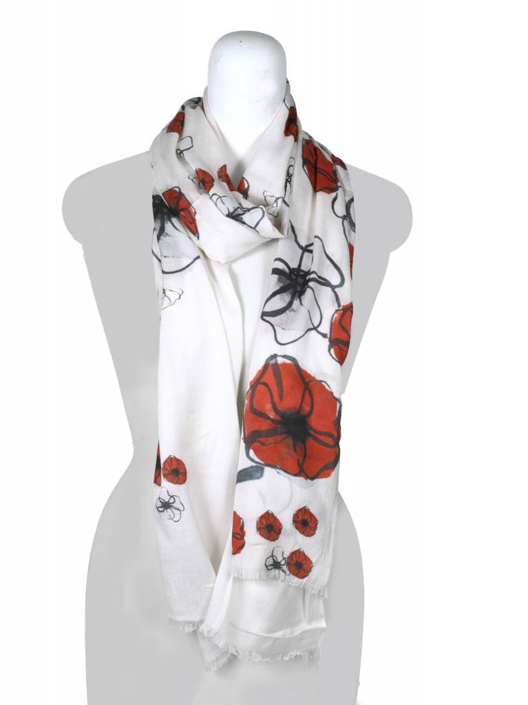 Field Poppy Large Scarf