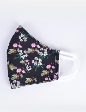 Mondkapje Zwart met lila/witte bloemen