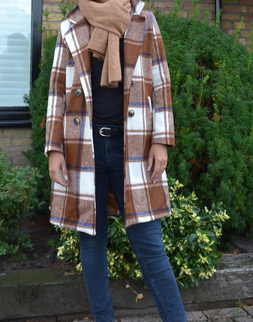Mantel Ruit bruin XL