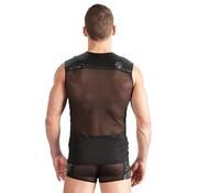 Svenjoyment Underwear Kunstleren Shirt Met Netstof - Zwart