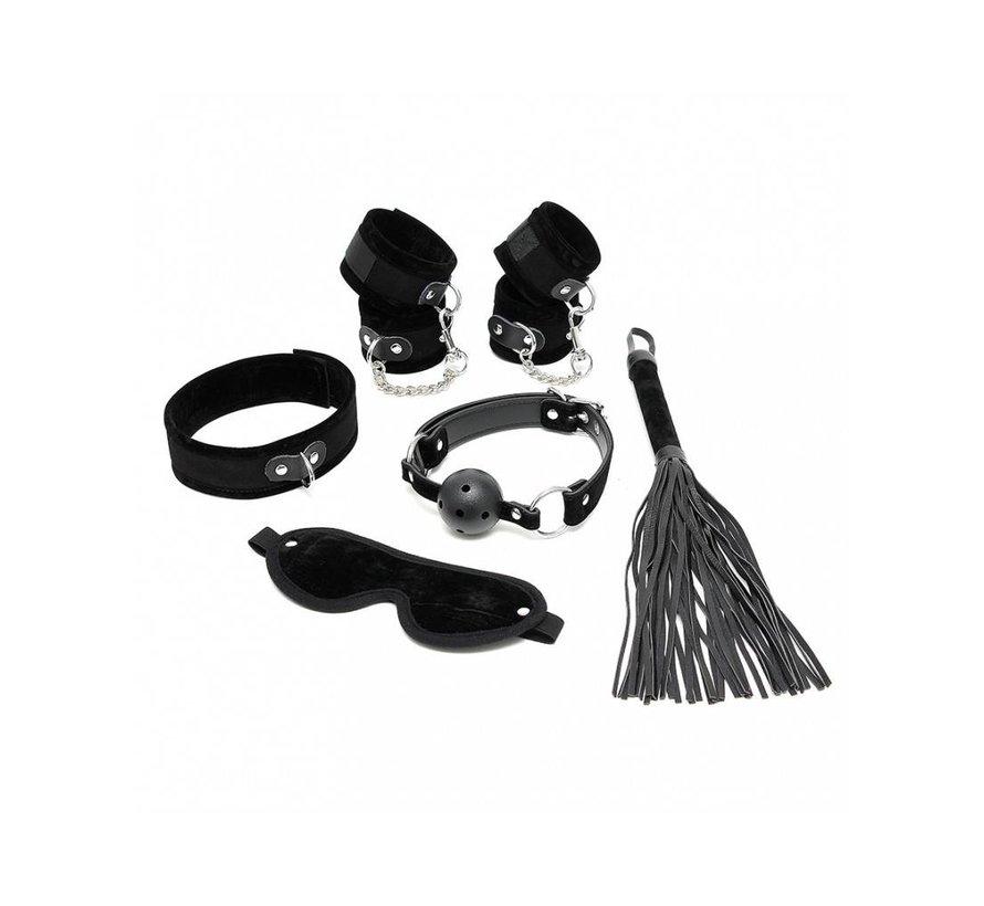 Soft bondage starter set zwart met klittenband (6-delig)