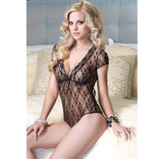 Leg Avenue Floral Lace Backless Teddy Black