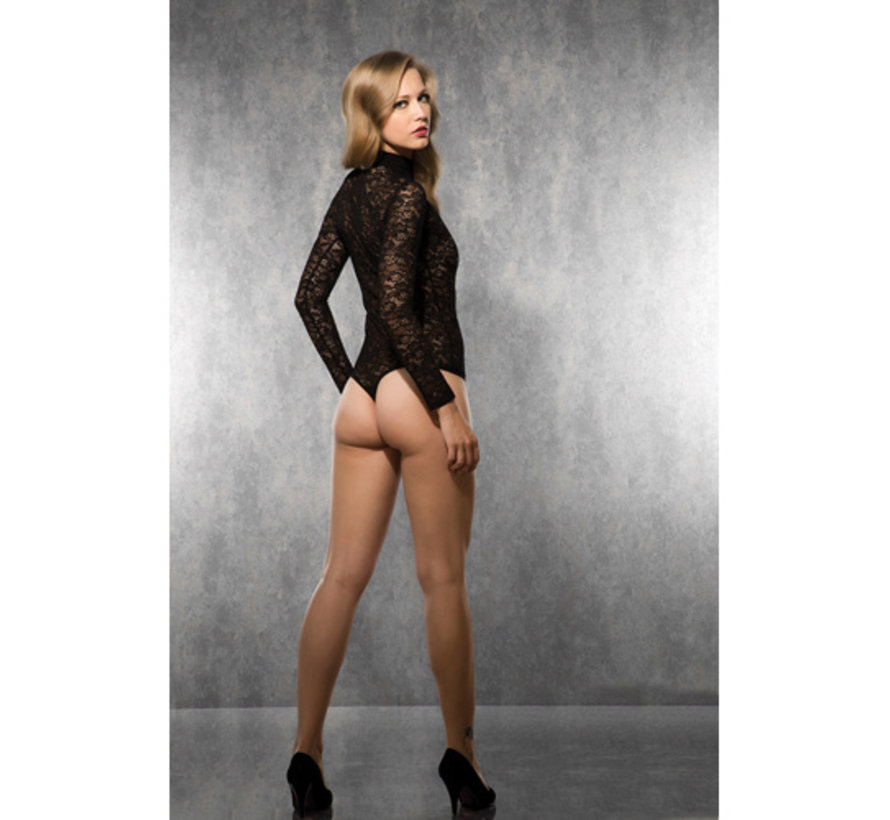 Ladies Long Sleeved Lace Body - Black