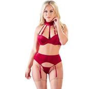 Cottelli Collection Bra Set Velvet - Red