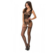 Passion Crotchless Bodystocking With Suspender Print