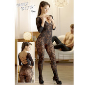 Mandy mystery Line Catsuit made of black floral lace