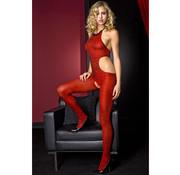 Music Legs Music Legs Catsuit Zebra Print - Red/Black