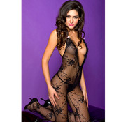 Music Legs Lace bodystocking with cross back strap