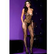 Music Legs Crotchless bodystocking with spaghetti straps