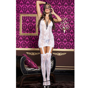 Music Legs Suspender Dress - White