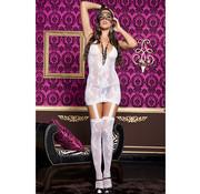 Music Legs Suspender Dress - White