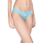 Music Legs Crotchless Lace Thong with Bow - Turquoise