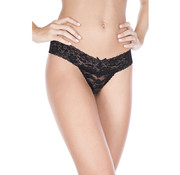 Music Legs Translucent Lace Thong With Bow