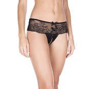 Music Legs Lace Thong With Bows And Open Crotch