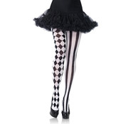 Leg Avenue Pantyhose With Harlequin Print - Black/White