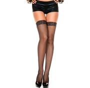 Music Legs Lace top fishnet thigh hi BLACK