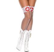 Music Legs White Cross Print Lace Top Spandex Mini Diamond Net Thigh Hi