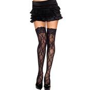 Music Legs Bow lace thigh hi BLACK