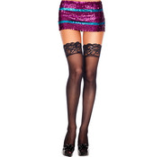 Music Legs Silicone lace top spandex sheer thigh hi BLACK