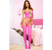 Music Legs Top Met String En Kousen - Roze