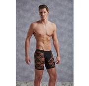 Doreanse Lange Netstof Boxer Met Bloemenpatroon - Zwart