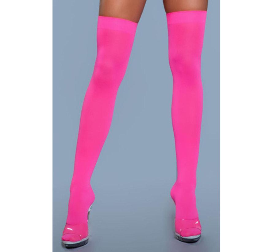 Hoge Nylon Kousen - Neon Roze