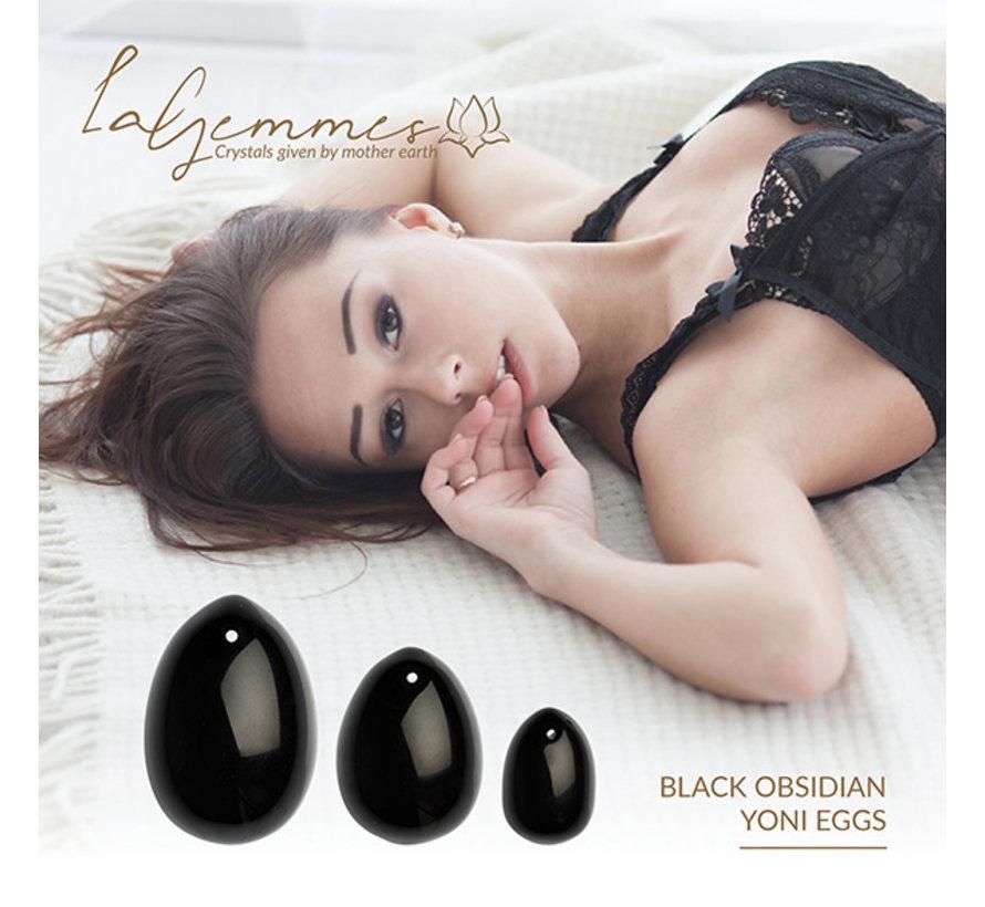 La Gemmes - Yoni Ei Set Zwarte Obsidiaan (L-M-S)